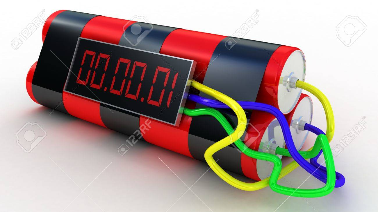 Bomb with digital timer ,3D images Stock Photo - 12325745