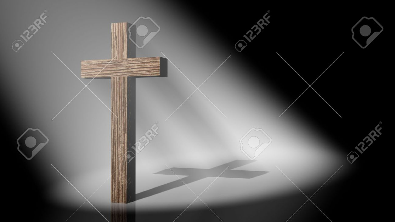The christian cross on volumetric light, 3D images Stock Photo - 12325736