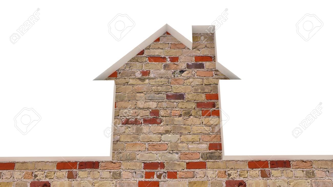 The brick old wall and the house conceptually, 3D images Stock Photo - 12398548
