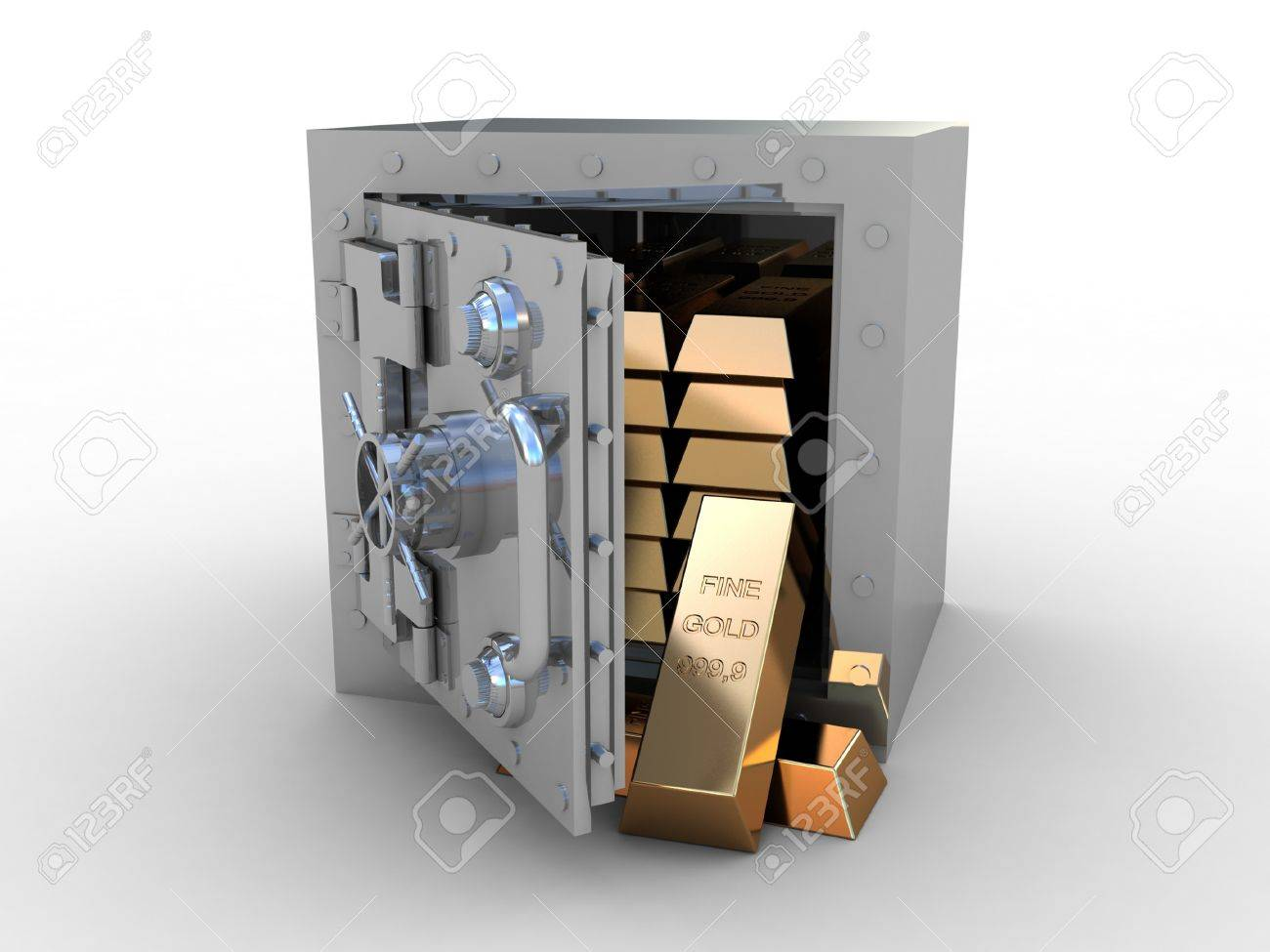 Safety deposit box and gold bras on white background, 3D images Stock Photo - 12862605
