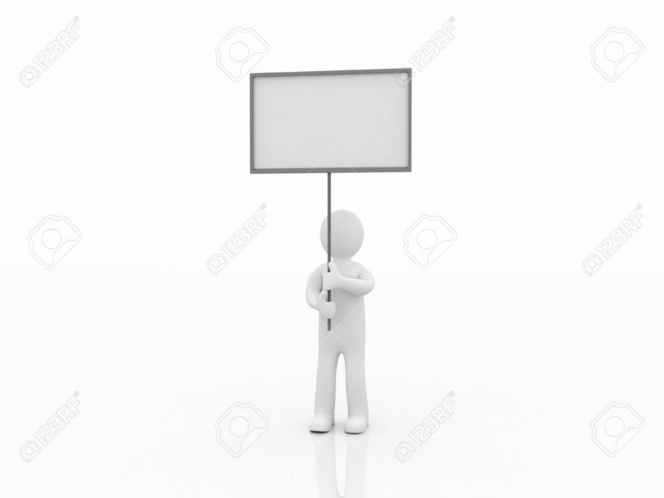Man with a banner, 3d images Stock Photo - 12996421