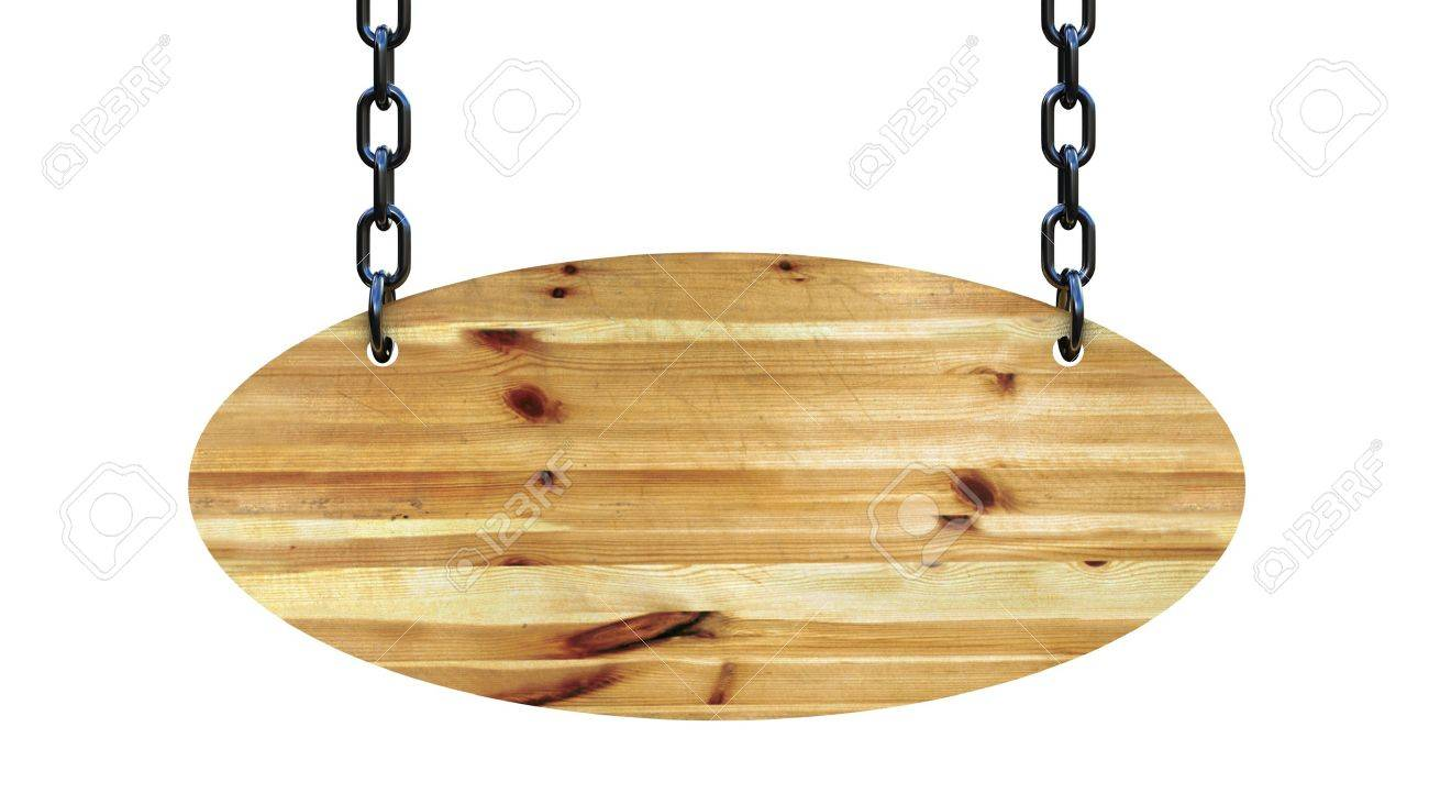 Wooden sign on the chains, 3D images Stock Photo - 13255752