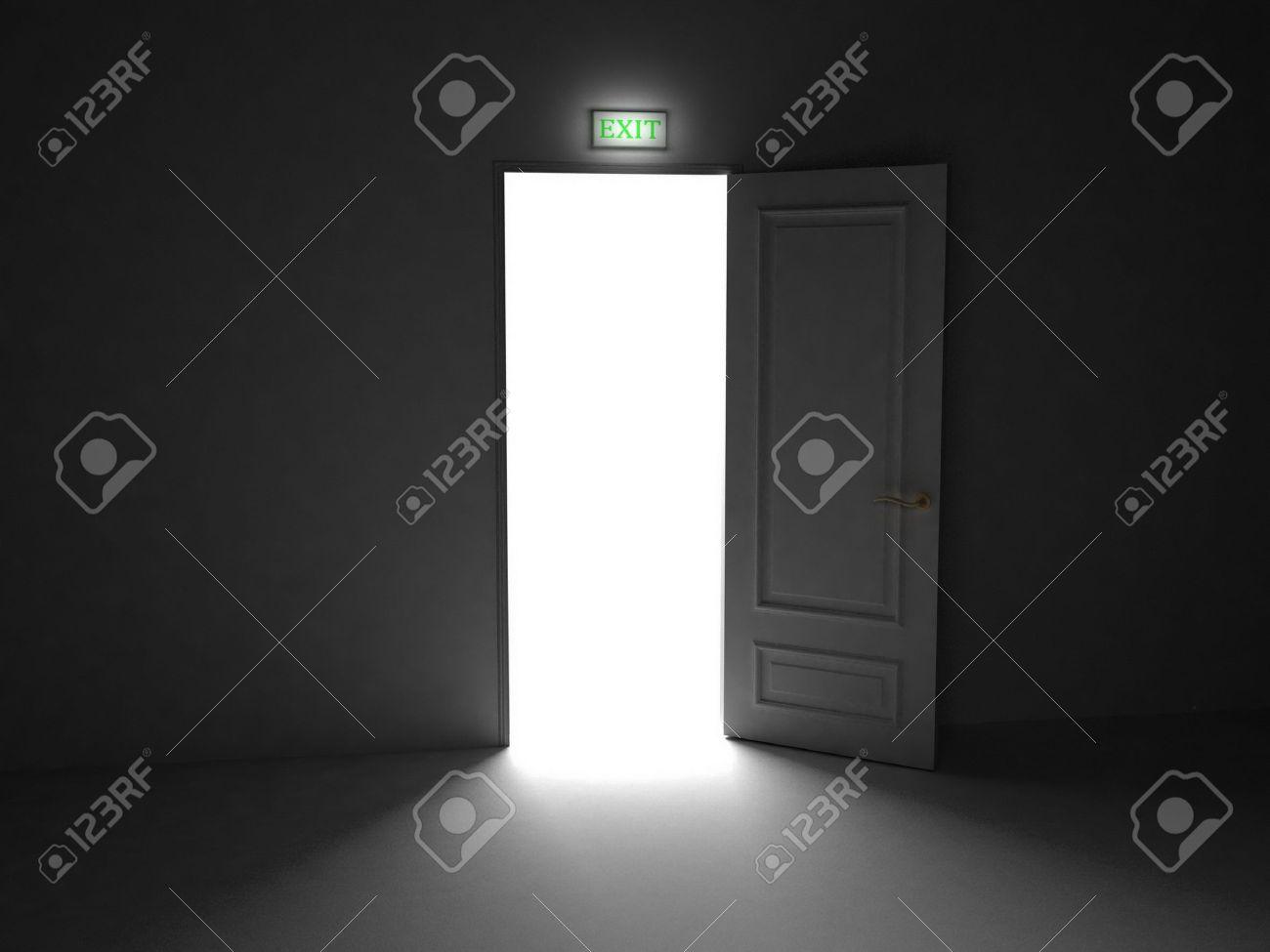 Door  open on black background, 3D images Stock Photo - 14252729