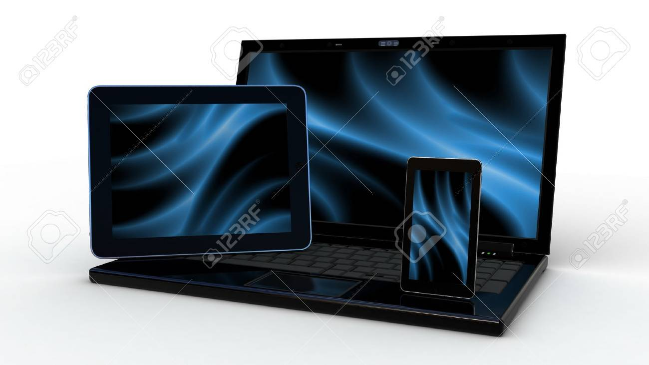 Laptop, mobile phone and tablet pc.Electronics. 3d Stock Photo - 14967801