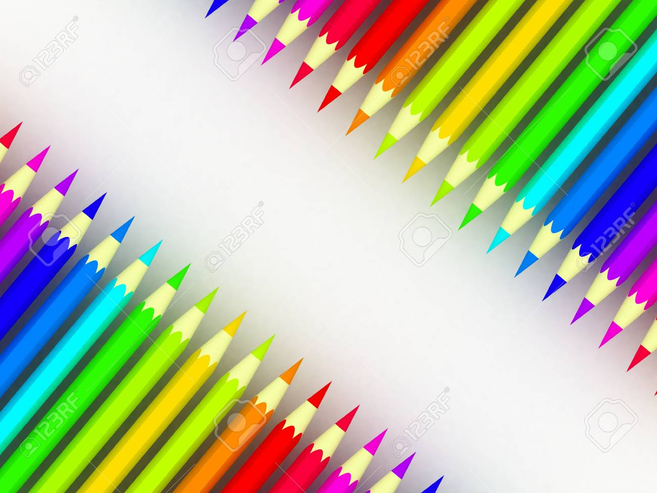 Many different colored pencils on white background Stock Photo - 17234504