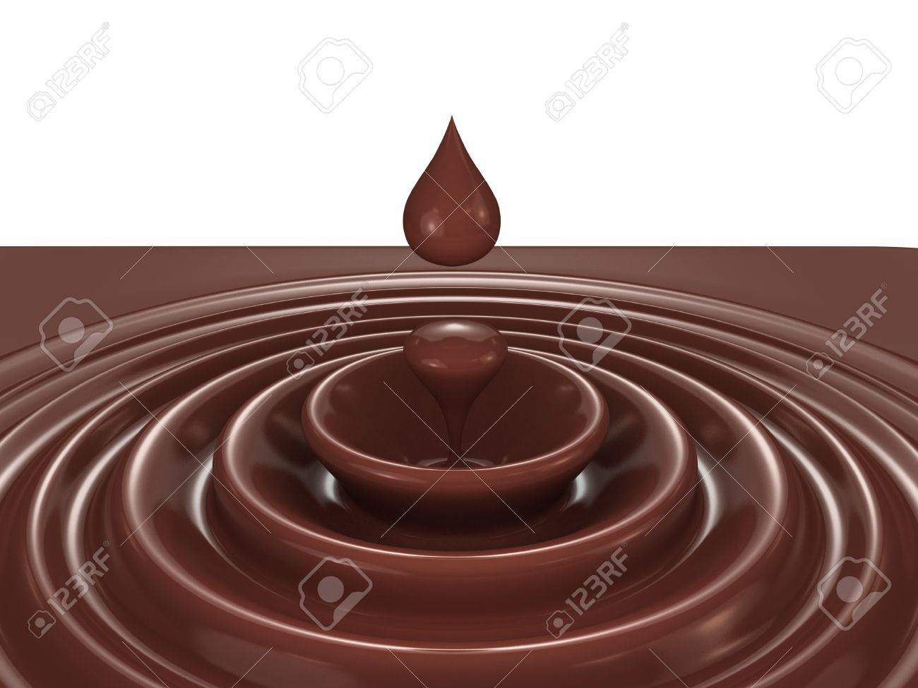 Dark chocolate as a liquid drop background illustration Stock Illustration - 17234456