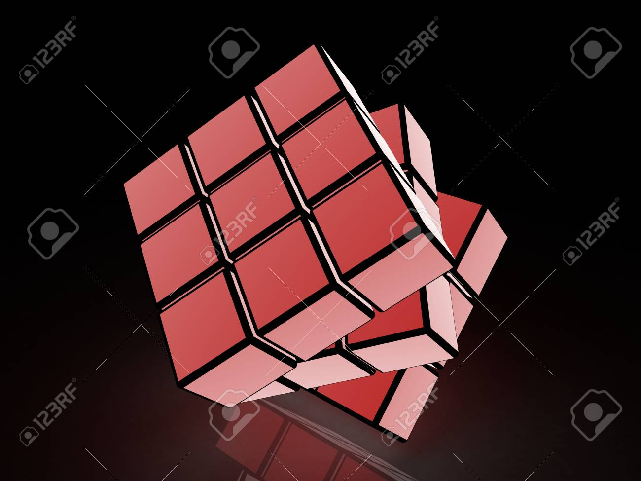 cube with light images on a black background Stock Photo - 17234471