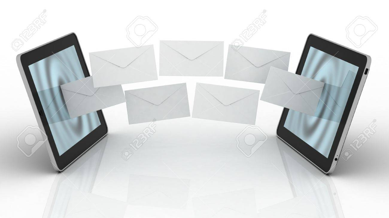 Tablet and fly envelopes Stock Photo - 17652068
