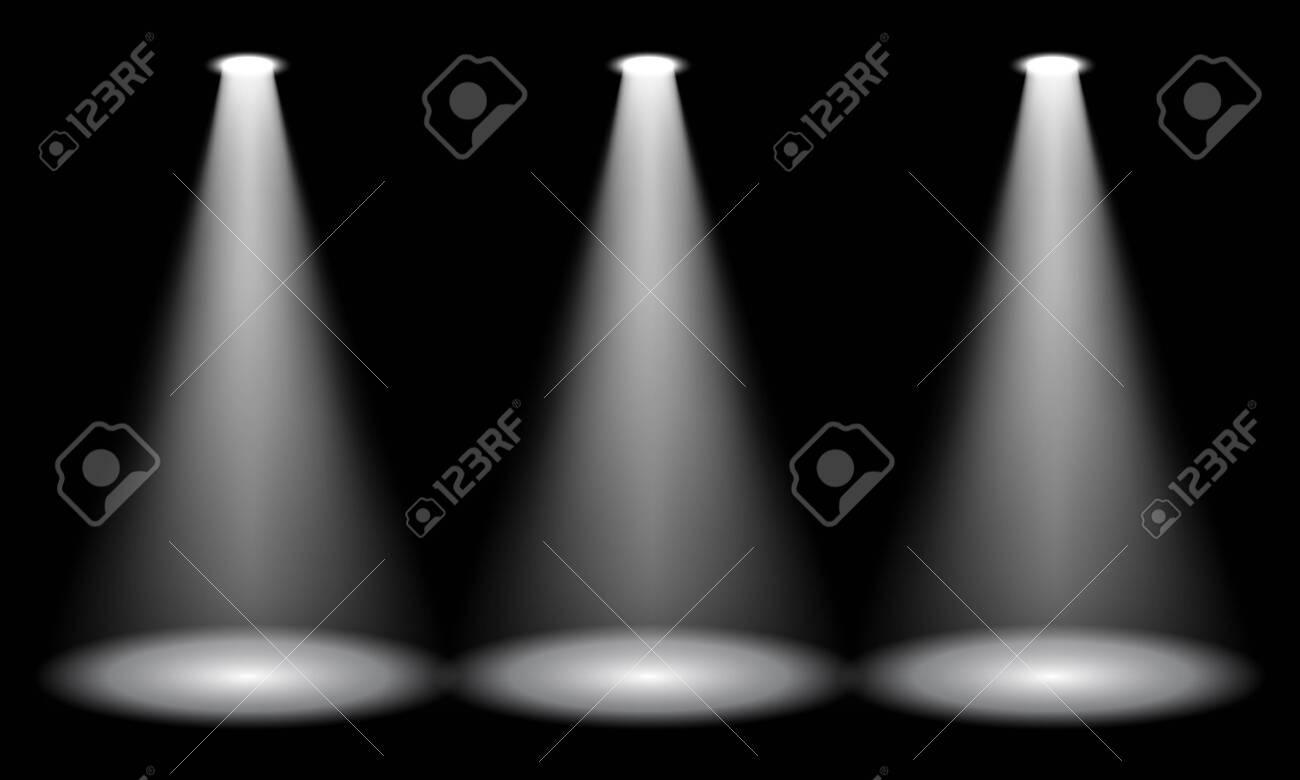 Spotlight on stage. Volume light on a black background. Vector illustration - 140408979