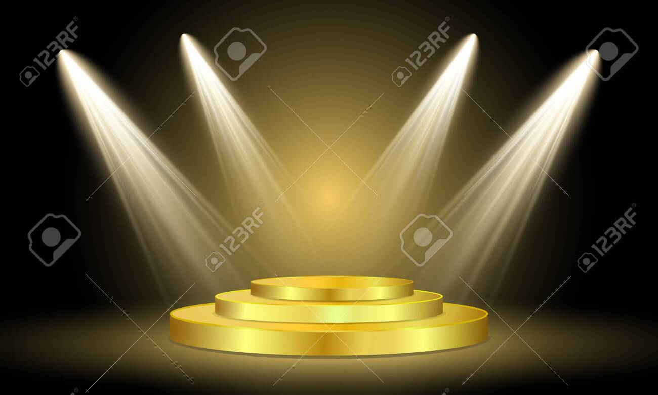Spotlight on stage. Volume light on black background. Round golden podium illuminated by spotlights on a dark background. Vector illustration. - 140409012