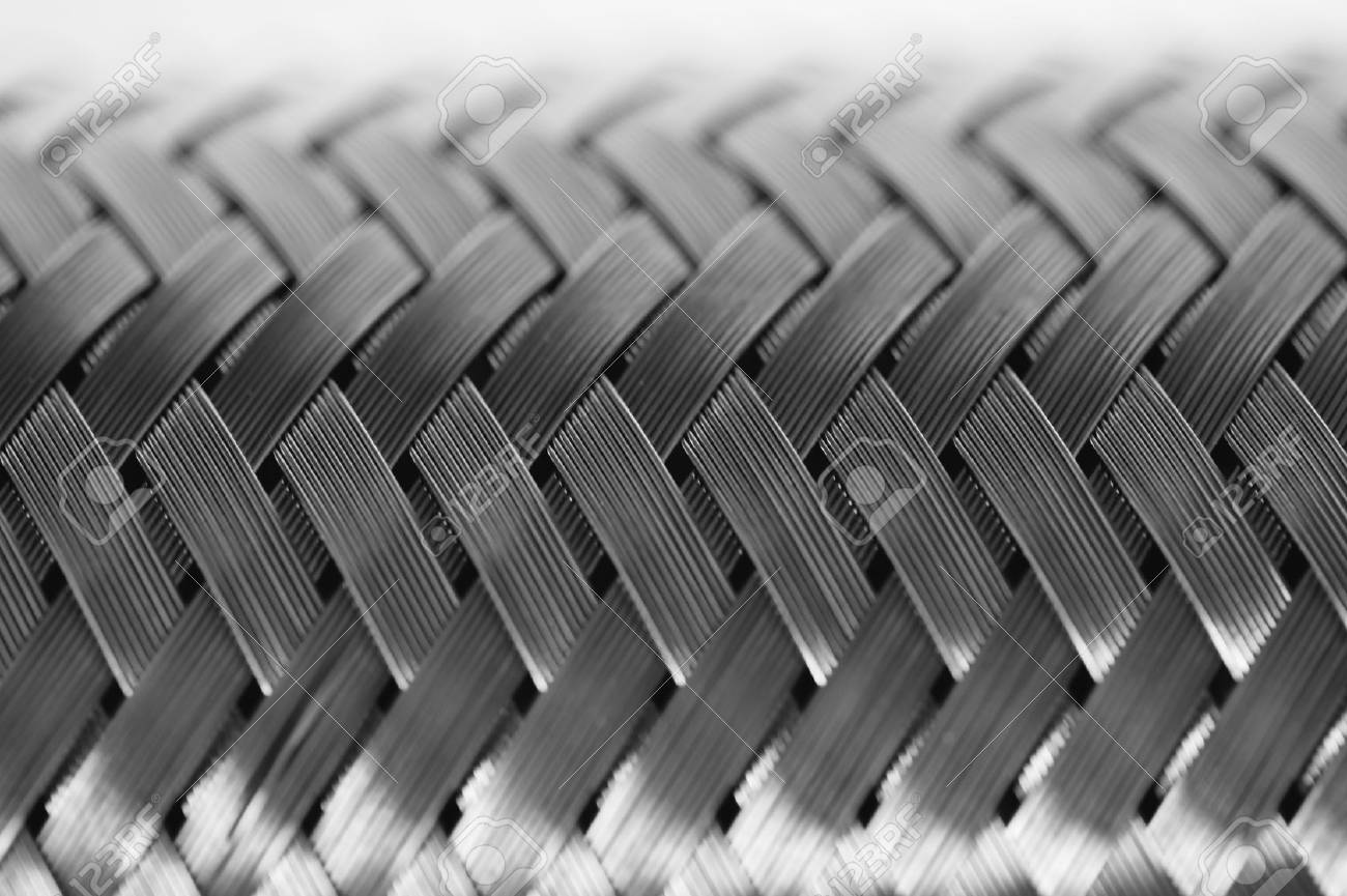 Horizontal Metal Wire Braiding. Steel Texture. Background. Template ...