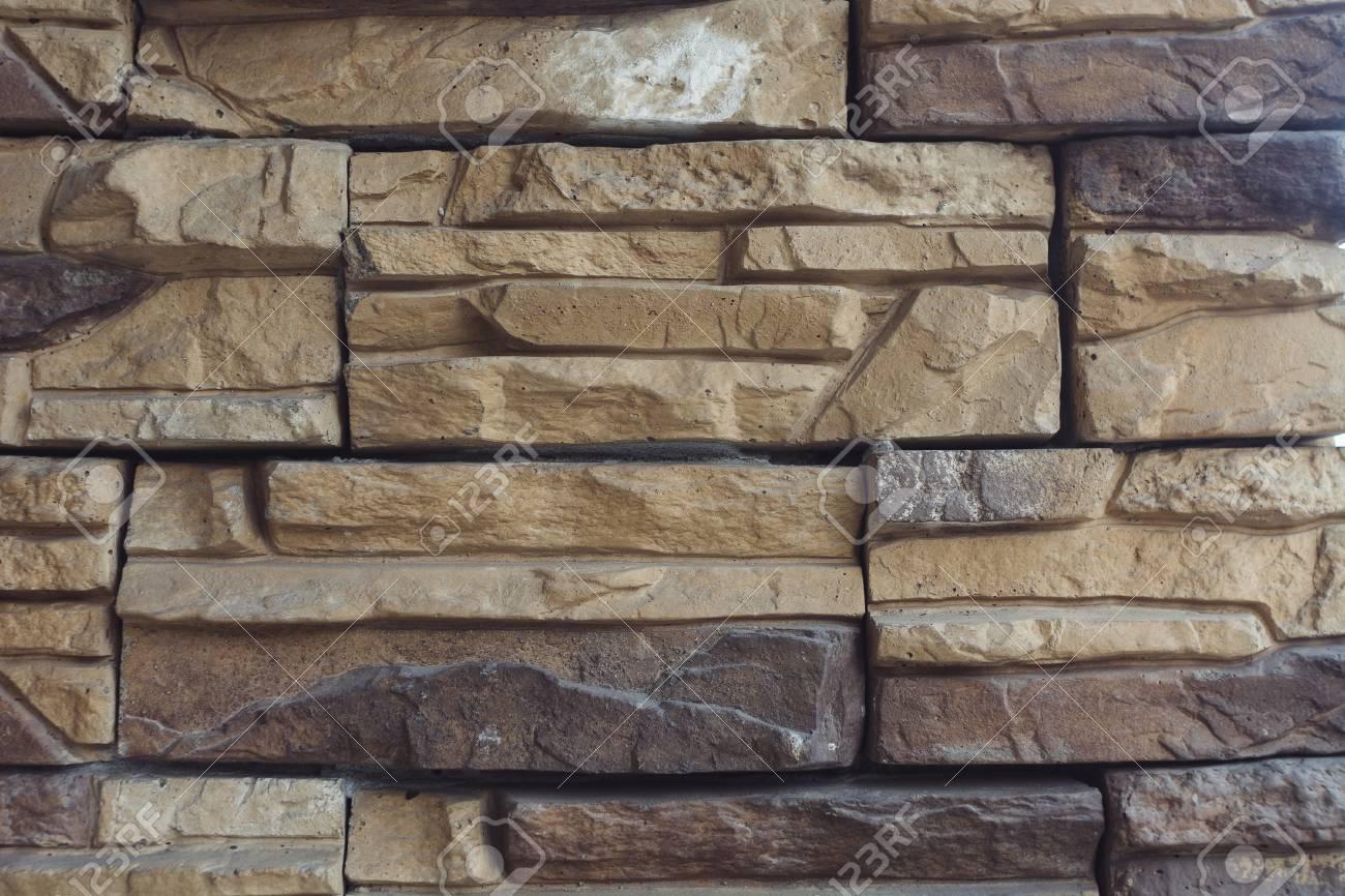 Unusual Designer Brick Wall Of Cream Color Made Of Bricks Of Stock