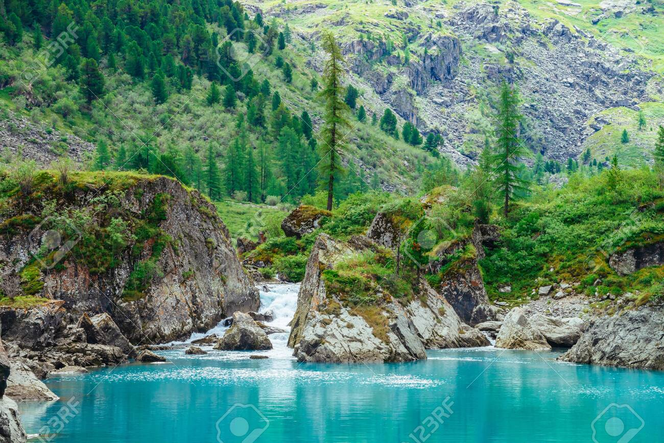 Mountain creek flows into azure lake. Fast stream of brook. Smooth water surface. Wonderful rocks with rich vegetation of highlands. Beautiful conifer trees. Amazing landscape of majestic nature. - 122481707