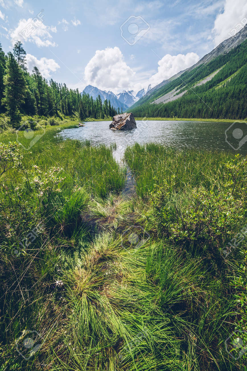 Meditative view to beautiful lake with stone in valley on snowy mountains background. Scenic relaxing green landscape with big mossy stone in mountain lake. Alpine lake with ripples on water surface. - 170160615