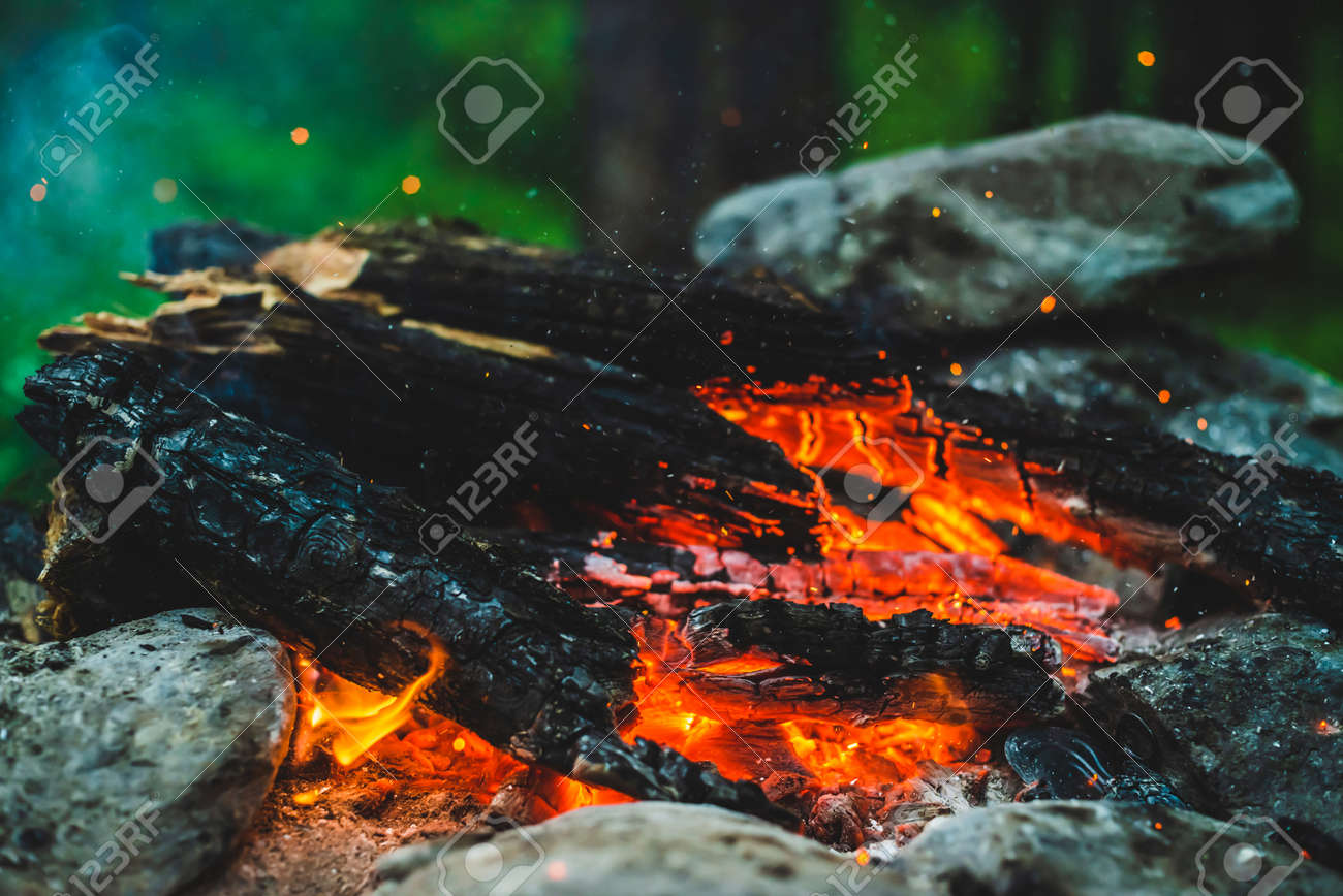 Vivid smoldered firewoods burned in fire close-up. Atmospheric background with orange flame of campfire. Full frame image of bonfire. Warm whirlwind of glowing embers and ashes in air. Sparks in bokeh - 170495278