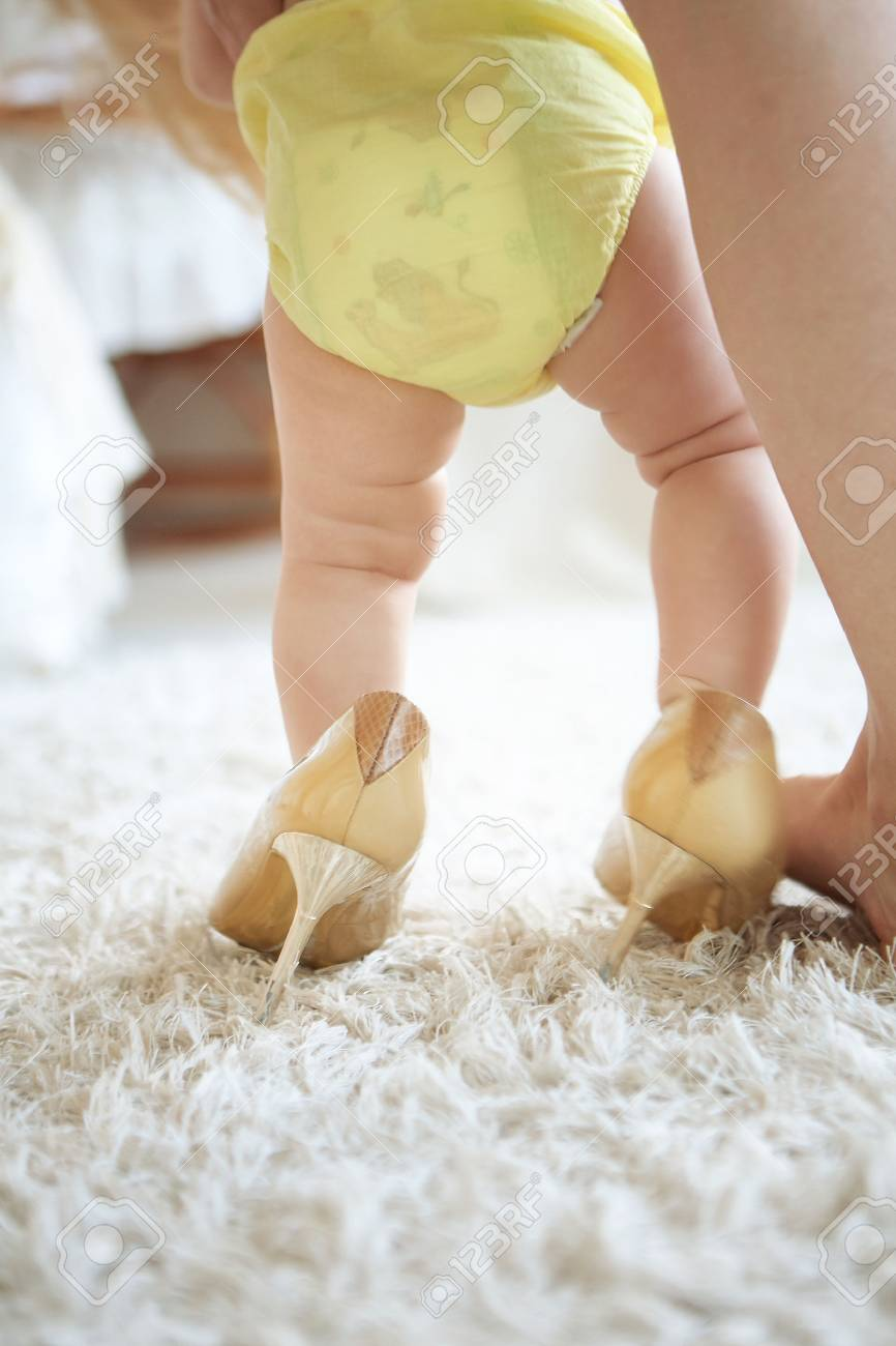 Little Baby Girl In High Heels Shoes