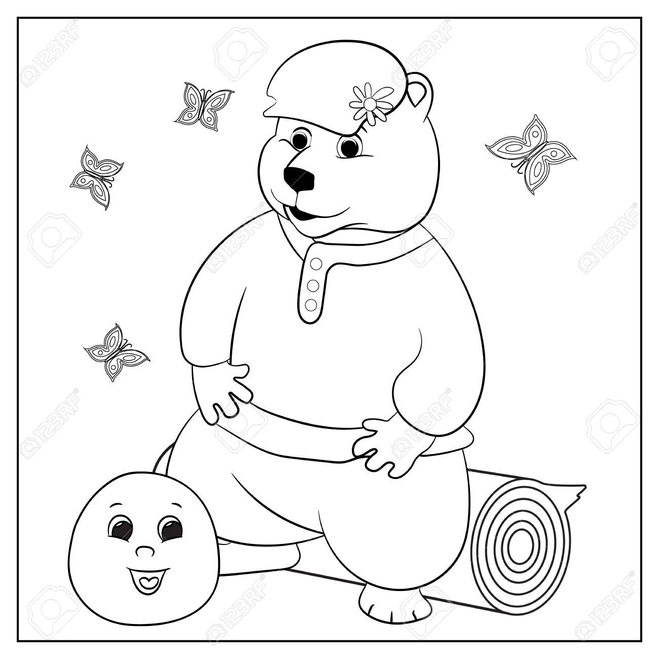 Photos à Colorier Avec Des Crayons De Couleur Peintures La Créativité Russe Images Drôles Avec Des Animaux Et Un Personnage Fictif Coloriage Pour