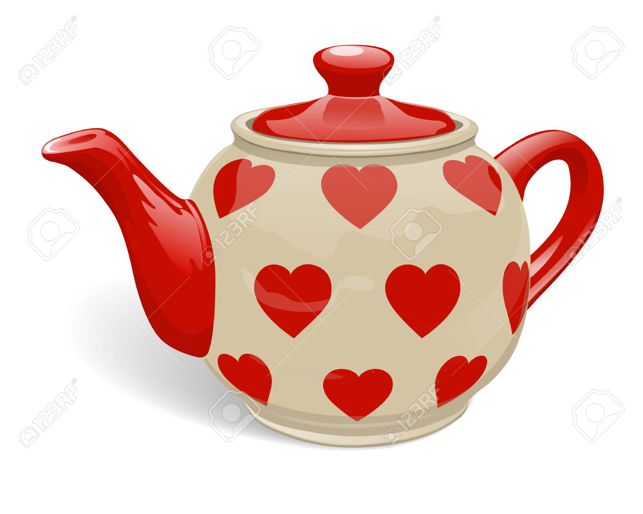 Realistic Ceramic Teapot Red Color With A Pattern Of Hearts Royalty Free Cliparts Vectors And Stock Illustration Image 123015033