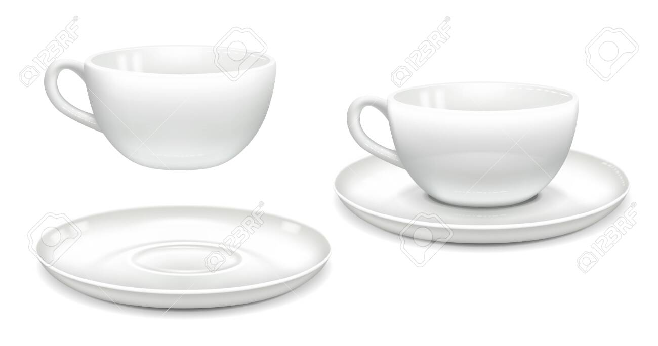 White Coffee Cup And Saucer Together And Separately Side View Royalty Free Cliparts Vectors And Stock Illustration Image 134857462