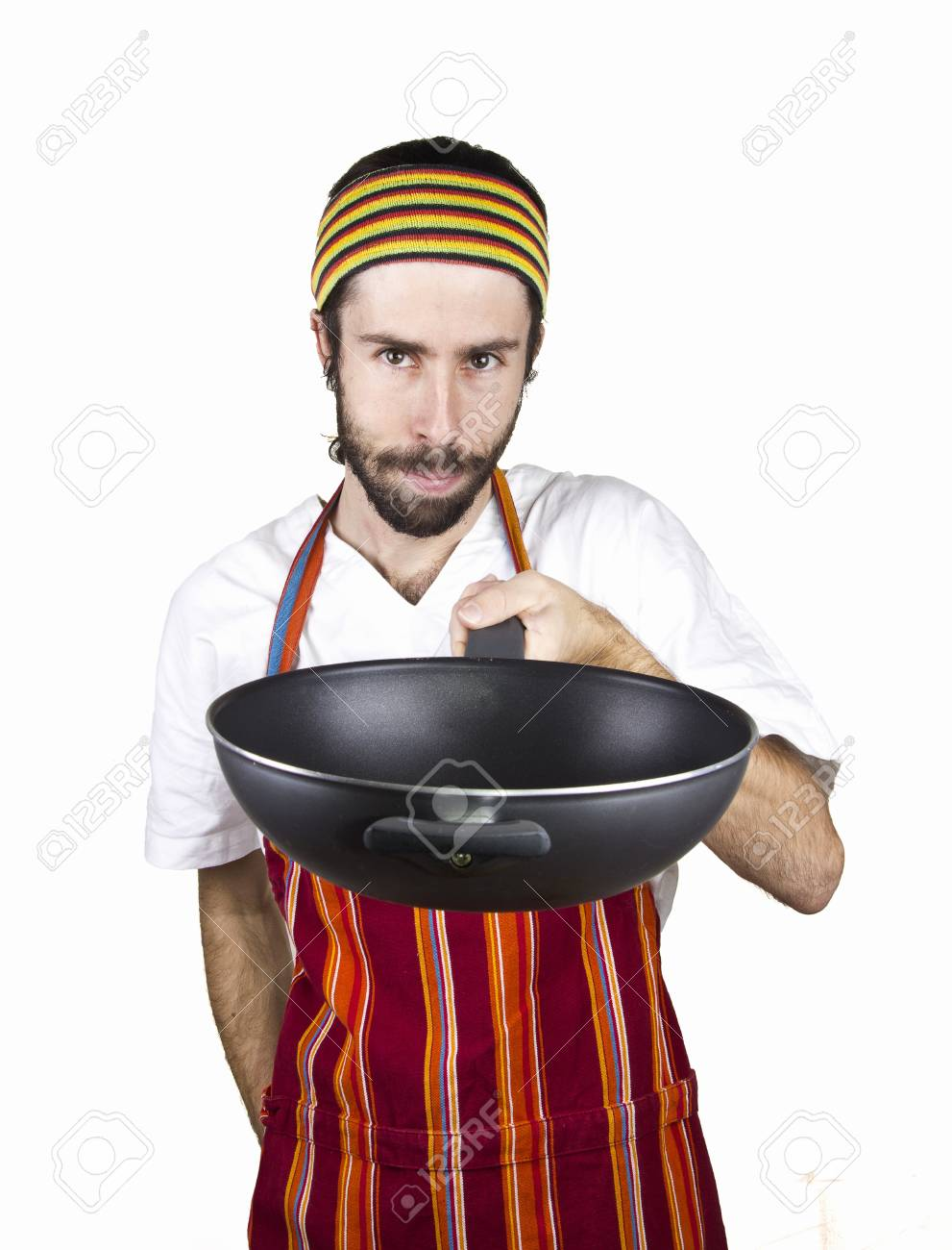 portrait of male chef with wok in the shoulder Stock Photo - 17242039