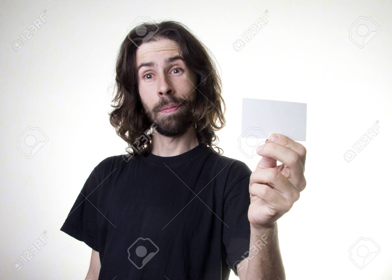 a men with the business card Stock Photo - 17242063