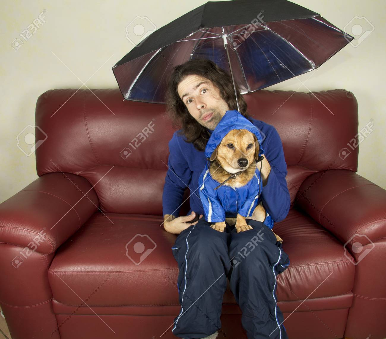 the blue rain dog and master Stock Photo - 17603697