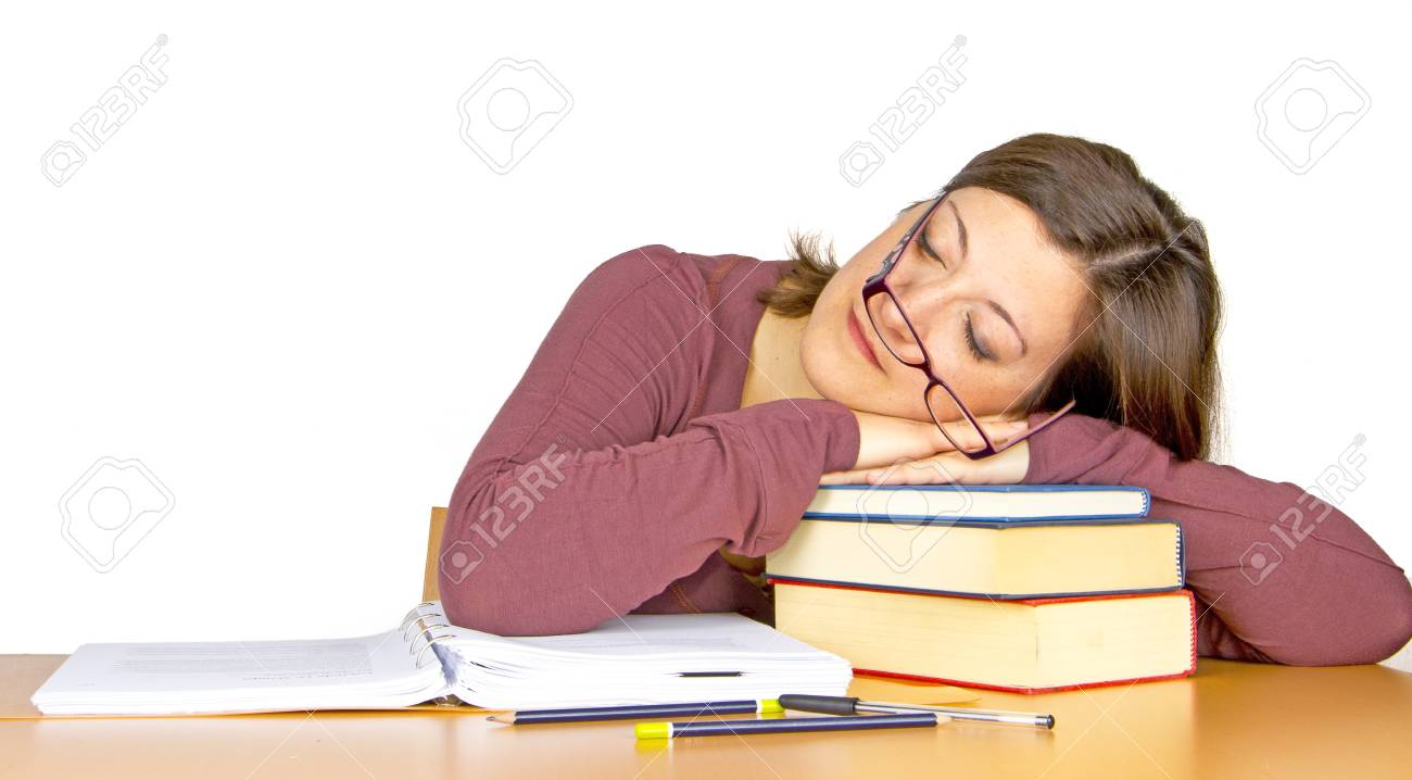 girl sleeps studies Stock Photo - 18160553