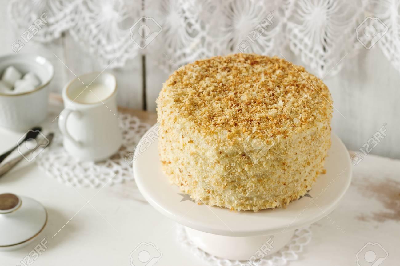 Napoleon Kuchen Aus Blatterteig Und Vanillepudding Vanille Auf Einem