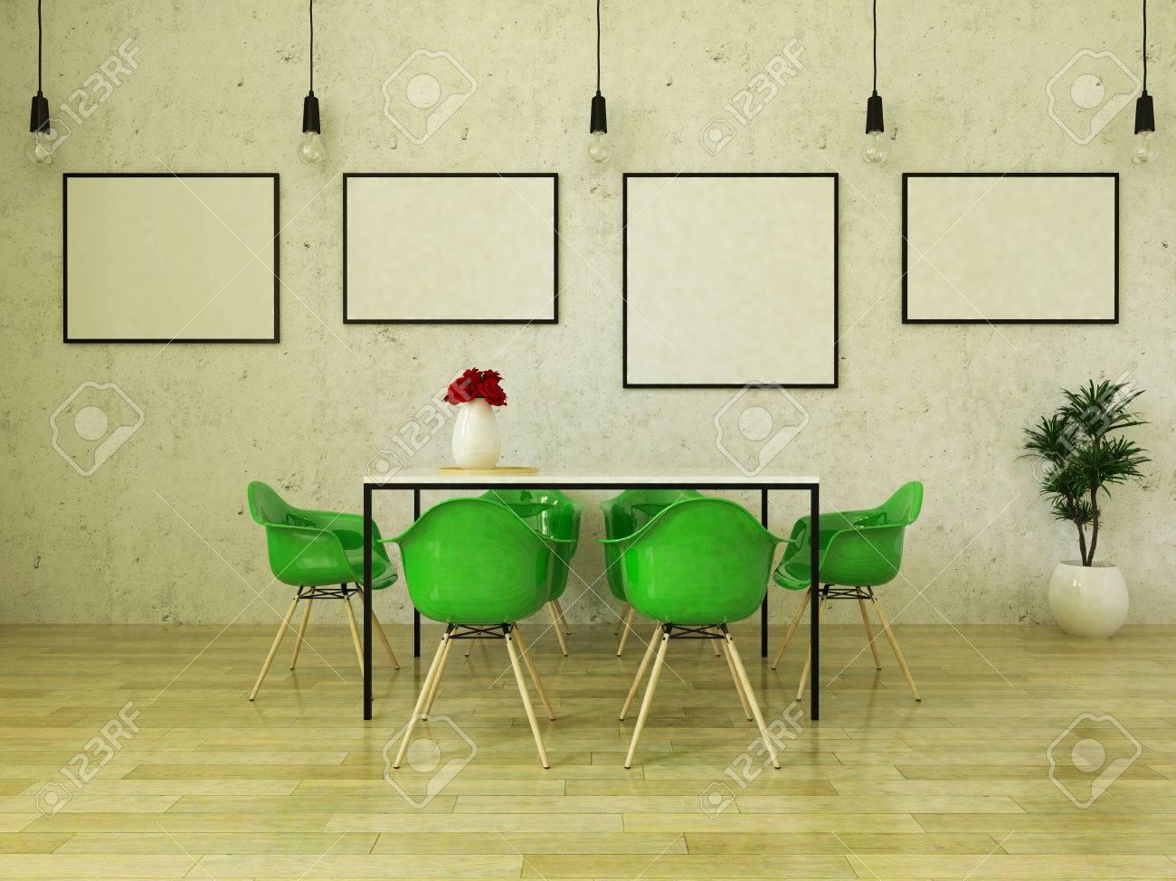 Hermosa Mesa De Comedor Con Sillas Verdes En Suelo De Madera Delante ...