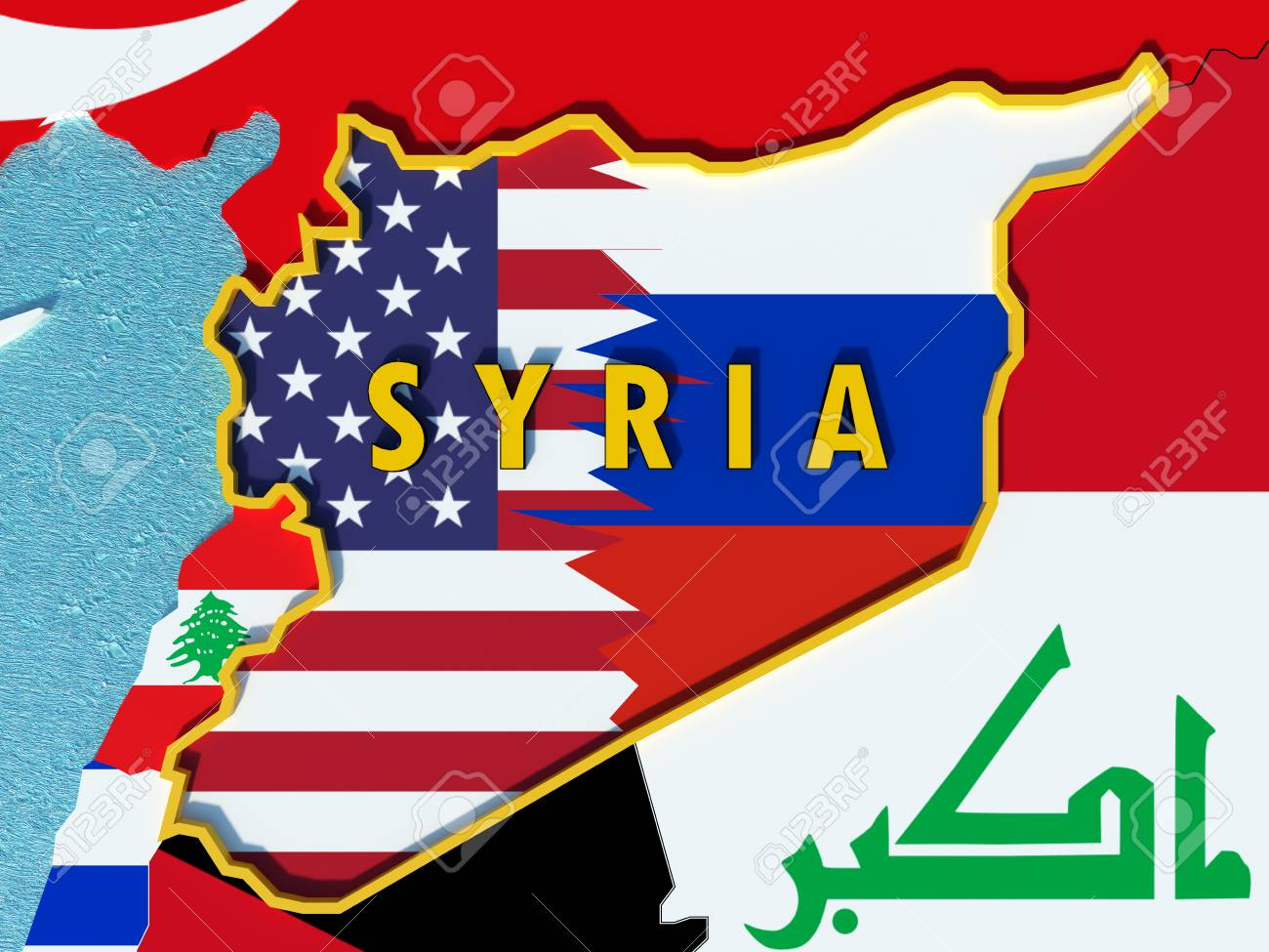 Map Of Syria Divided With Usa And Russia Flags With Surrounding