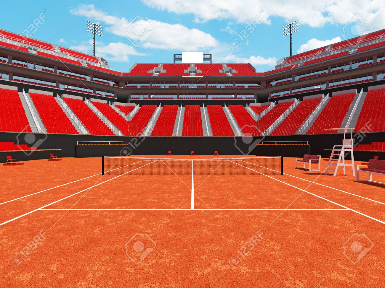 3D Render Of Beutiful Modern Tennis Clay Court Stadium With Red Chairs For  Fifteen Thousand Fans