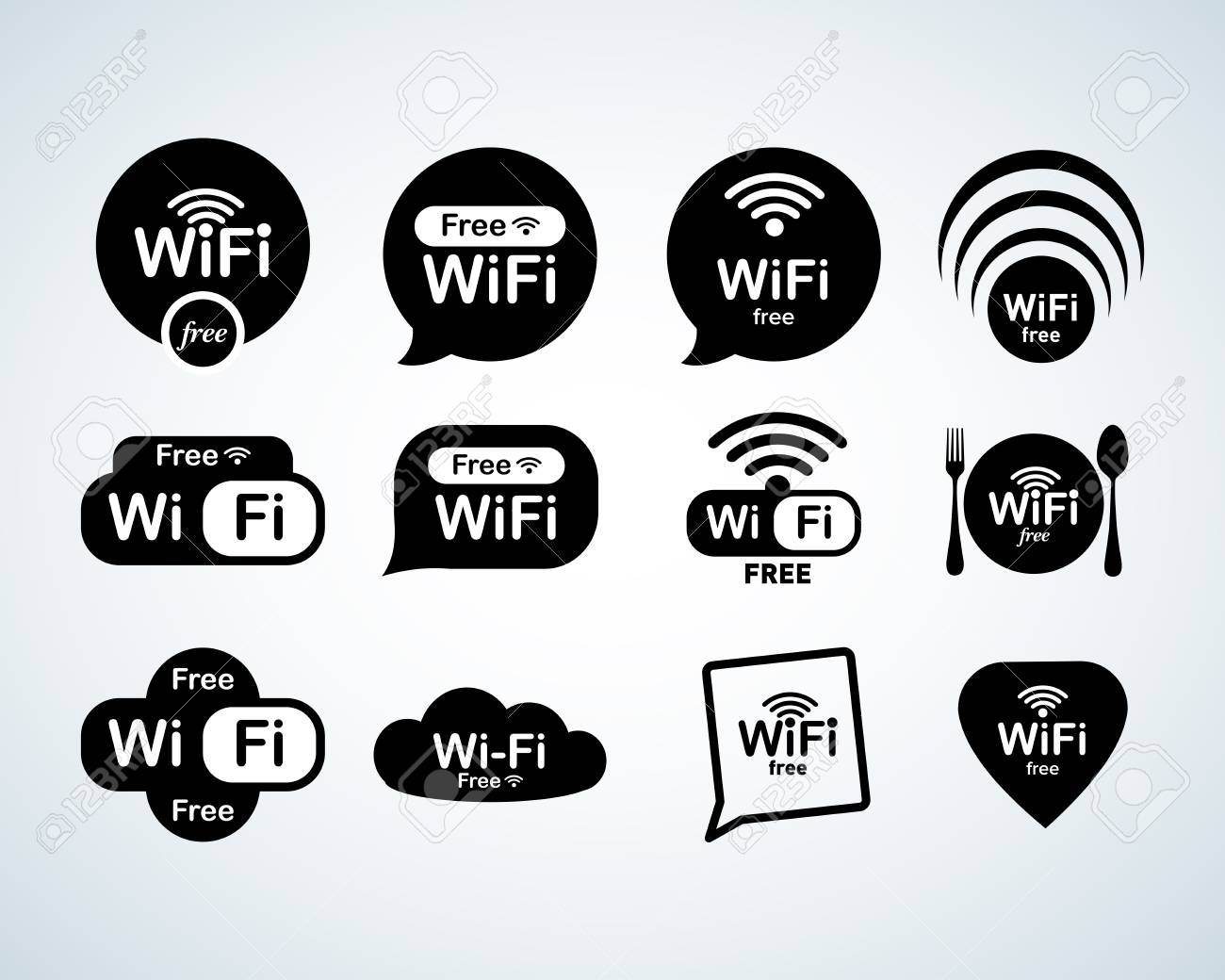Free wifi logo set. Free wifi signs set. Wifi symbols. Wireless Network icons. Wifi zone. Modern UI website navigation. Isolated Vector illustrations - 106267299