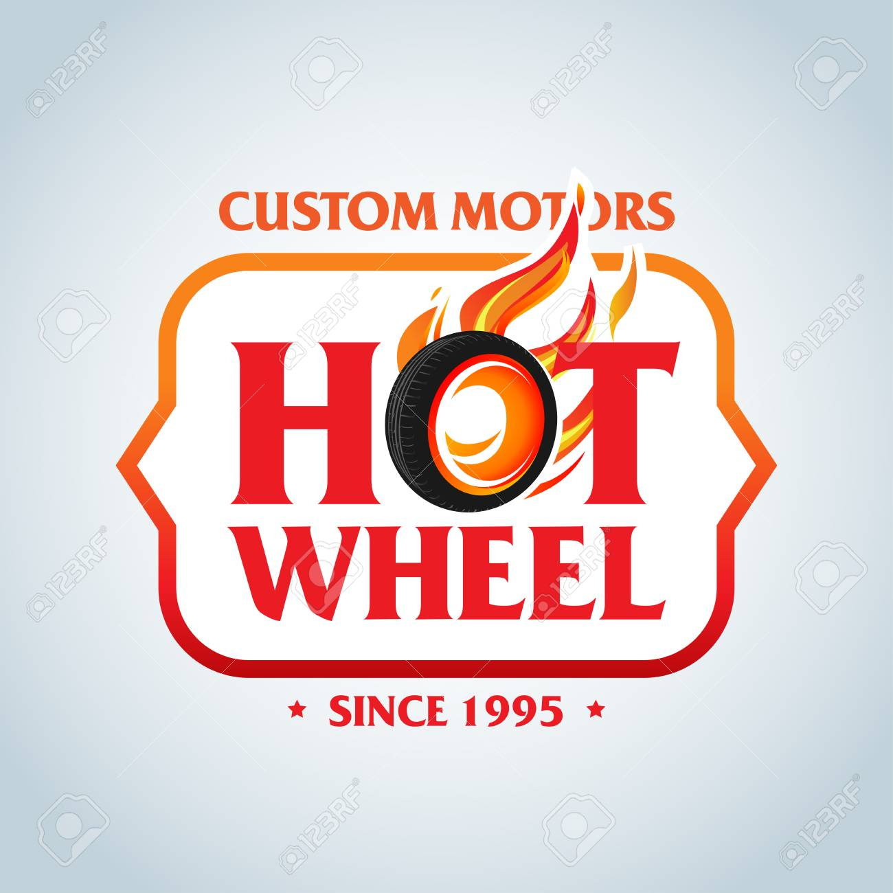 Hot Wheel In Fire Flame Vintage Logo Design Vector Template