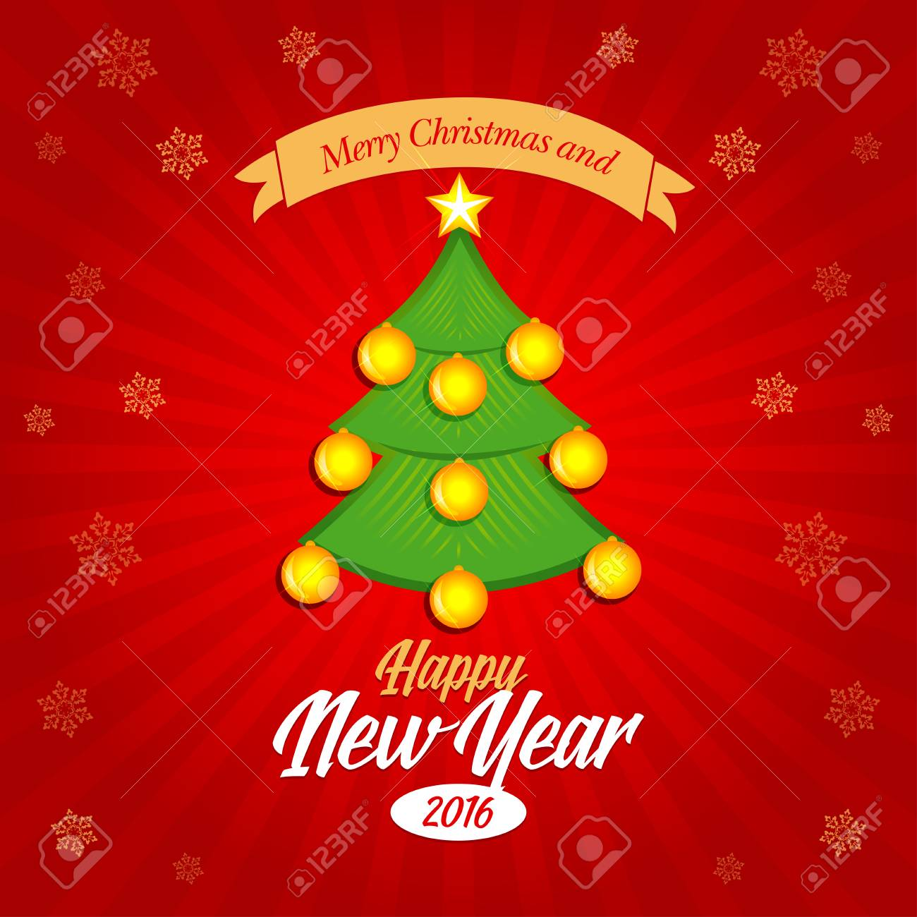 Happy New Year 2016 And Merry Christmas Banner Postcard Christmas