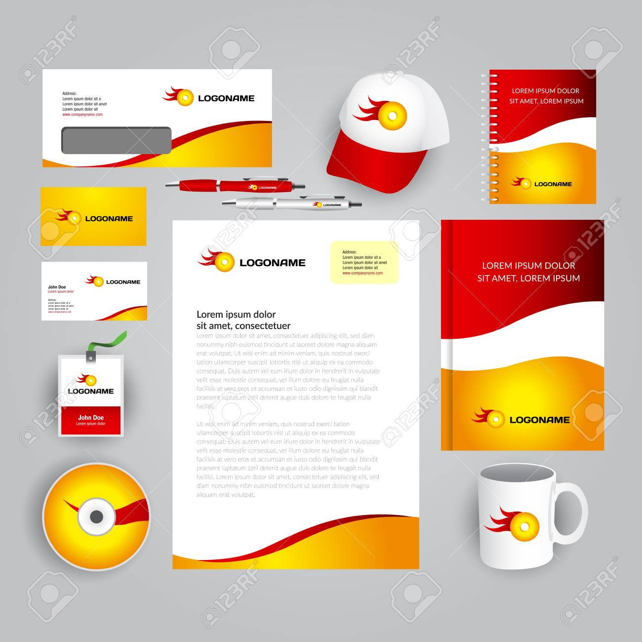 Corporate Identity Template With Logo Gold Yellow And Red Colors