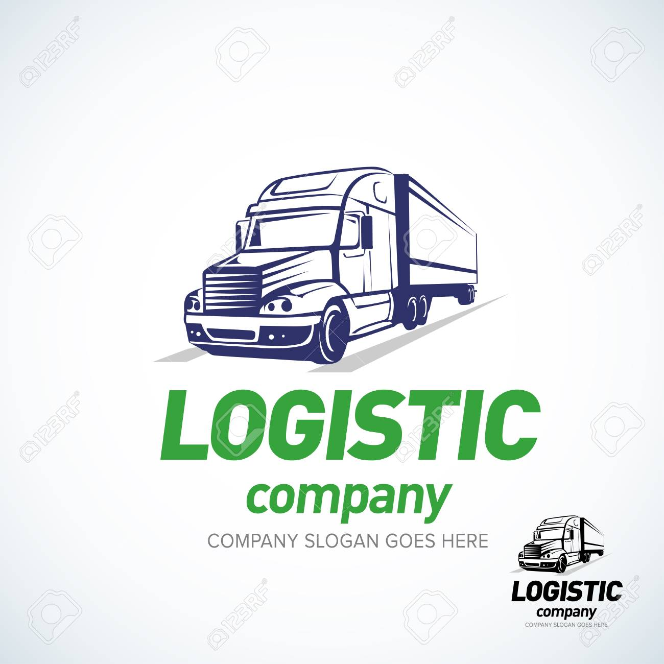 Truck logo template. Logistic truck logo. Isolated vector illustration. - 97180304