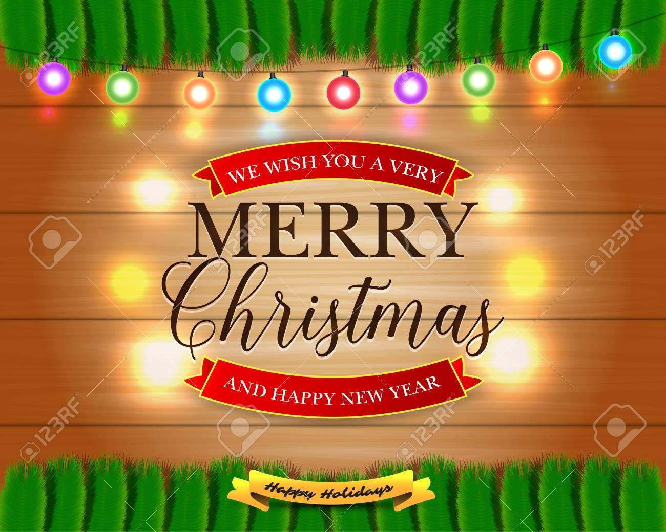 merry christmas and happy new year card with christmas lights pine branches xmas holiday