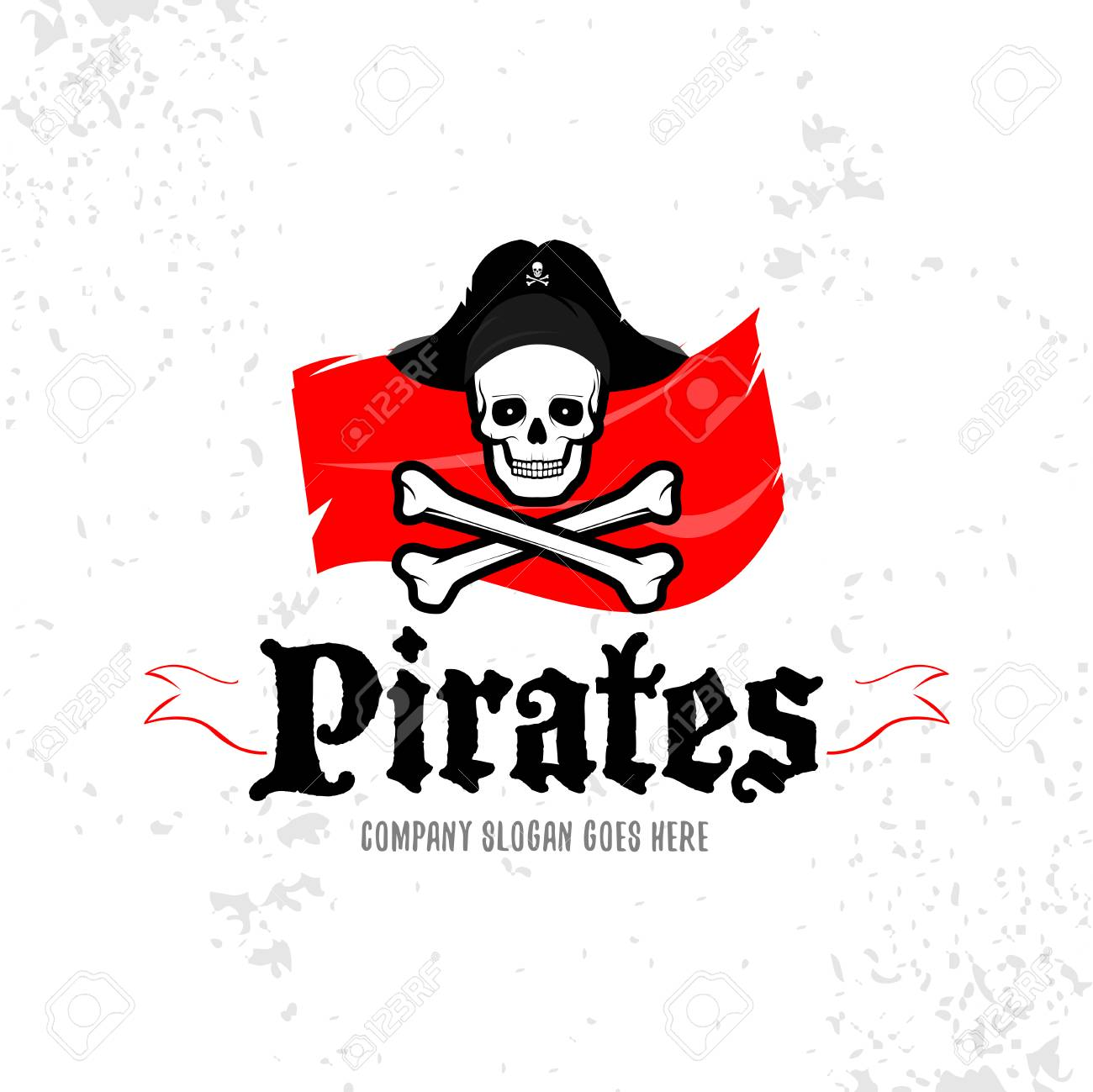 pirates skull logotype template badge logo emblem isolated