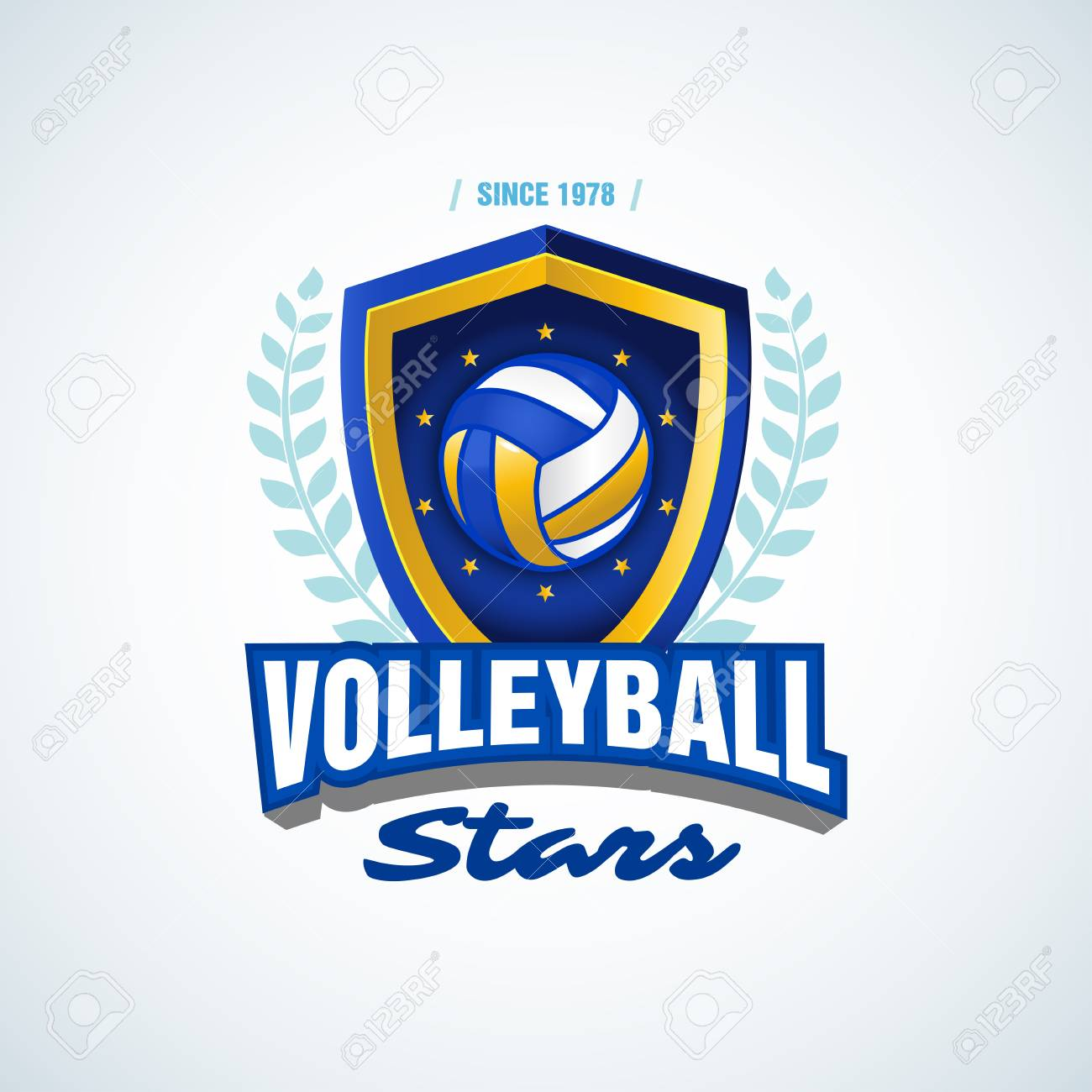 0986efd9 Vector - Volleyball stars team logo template. Volleyball emblem, logotype  template, t-shirt apparel design. Volleyball ball. Sport badge for  tournament or ...