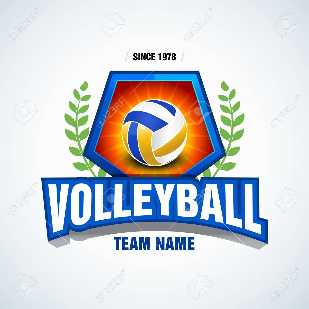 38c32c0c Volleyball team logo template. Volleyball emblem, logotype template, t-shirt  apparel design