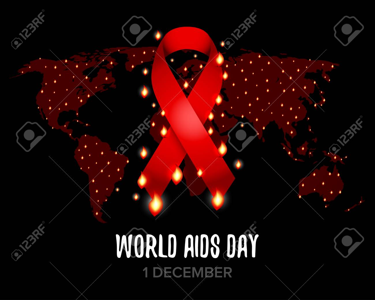 Red Ribbon Of Aids World Map Isolated Vector Illustration Royalty