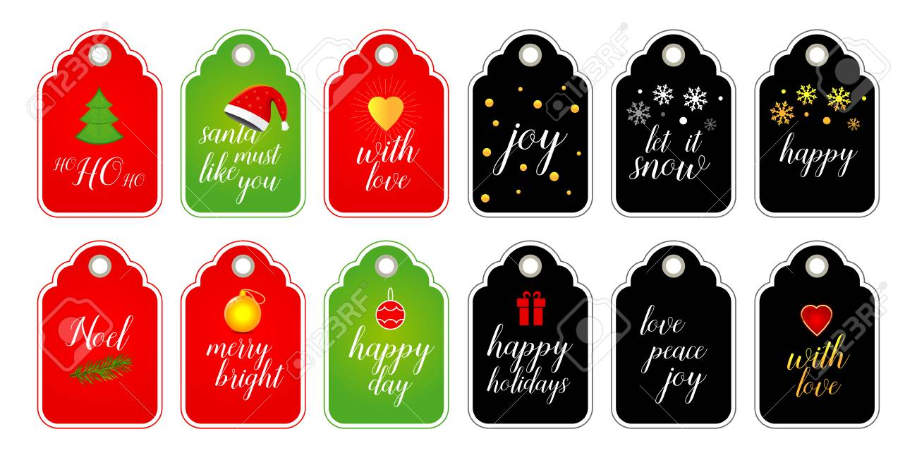 photo relating to Cute Gift Tags Printable known as Range of Xmas and Contemporary Yr lovable organized-toward-retain the services of present tags