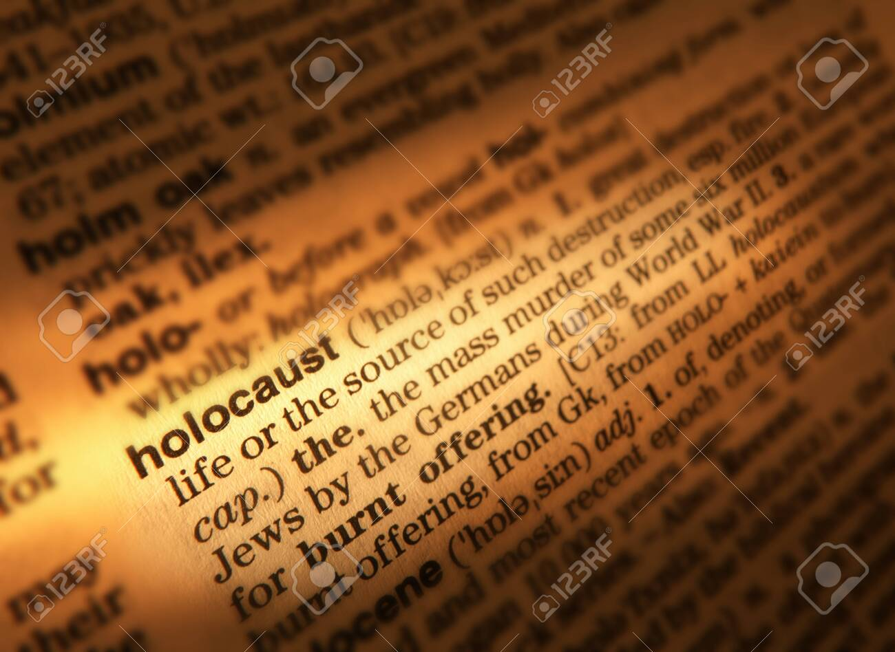 Close Up Of Dictionary Page Showing Definition Of The Word Holocaust