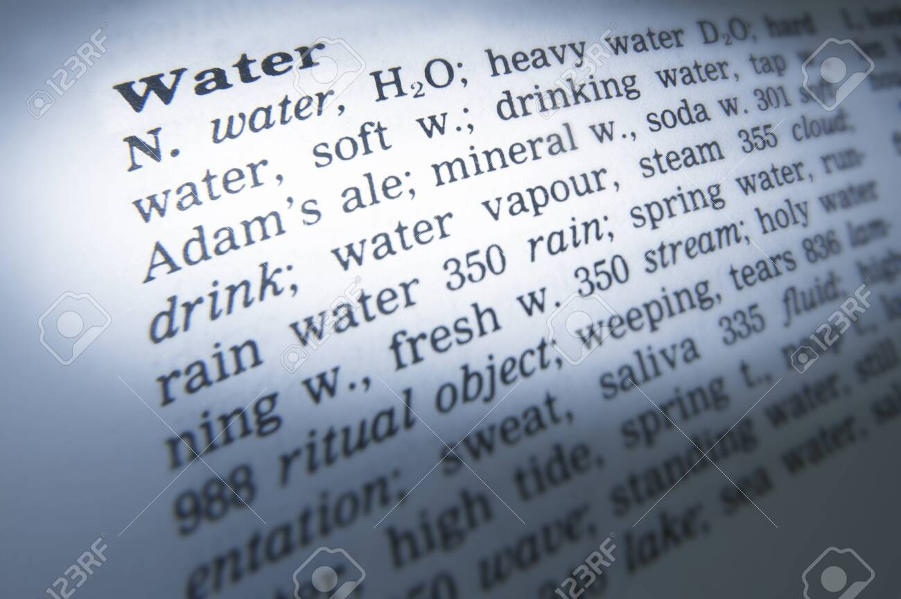 Close up of thesaurus page showing definition of the word water