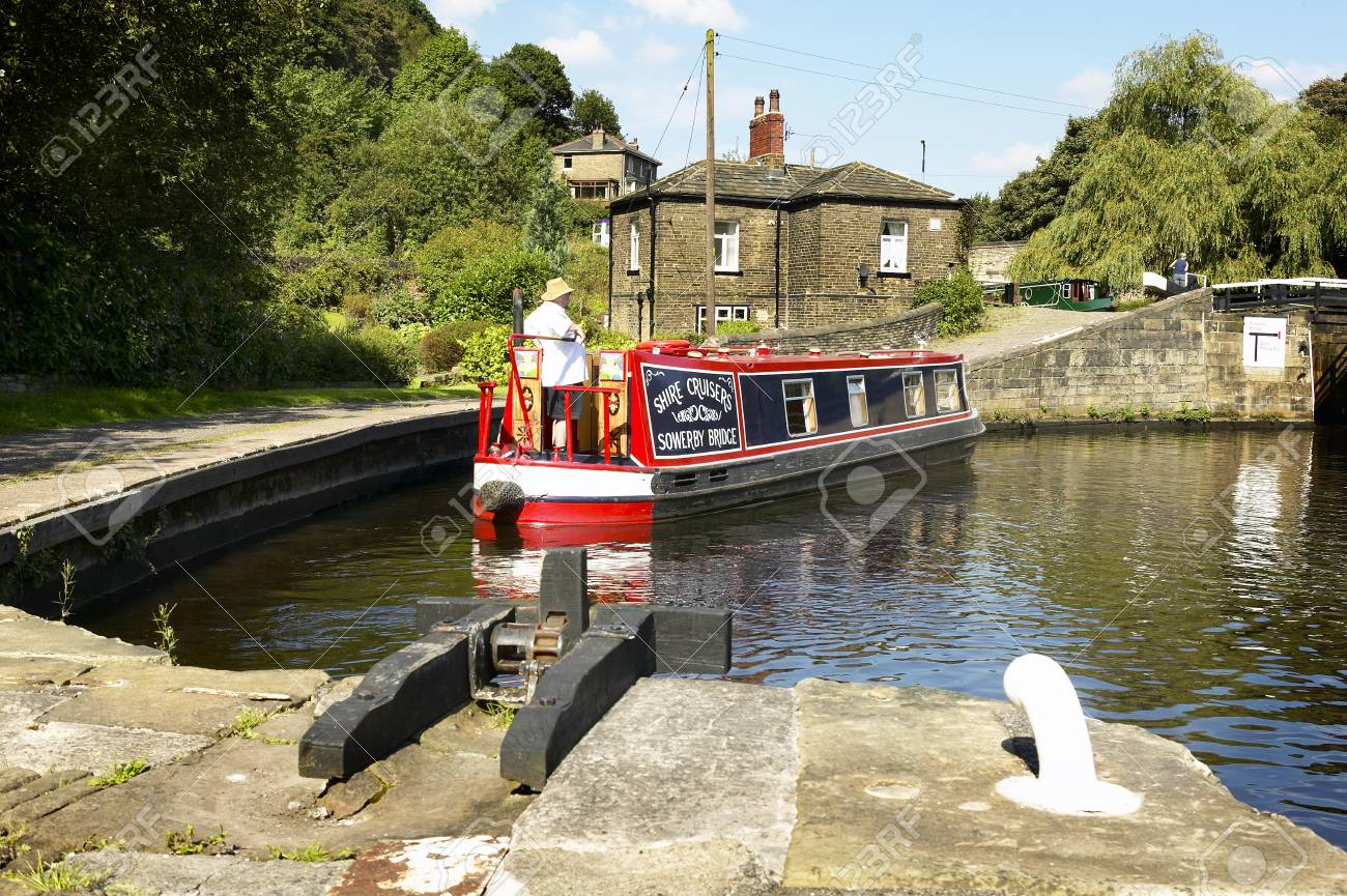 Canal barge at Salterhebble lock, Yorkshire, England