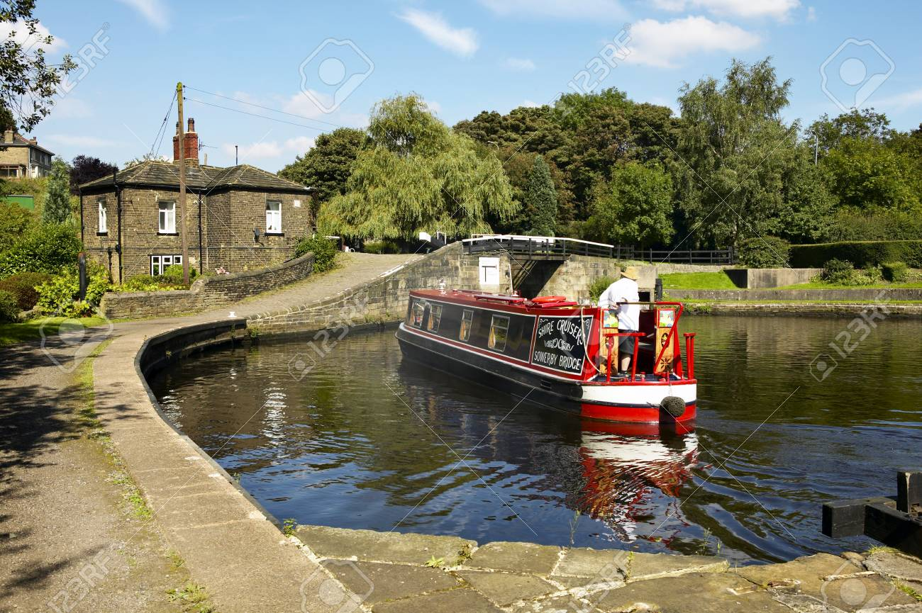 Canal barge at Salterhebble Lock in Yorkshire, England