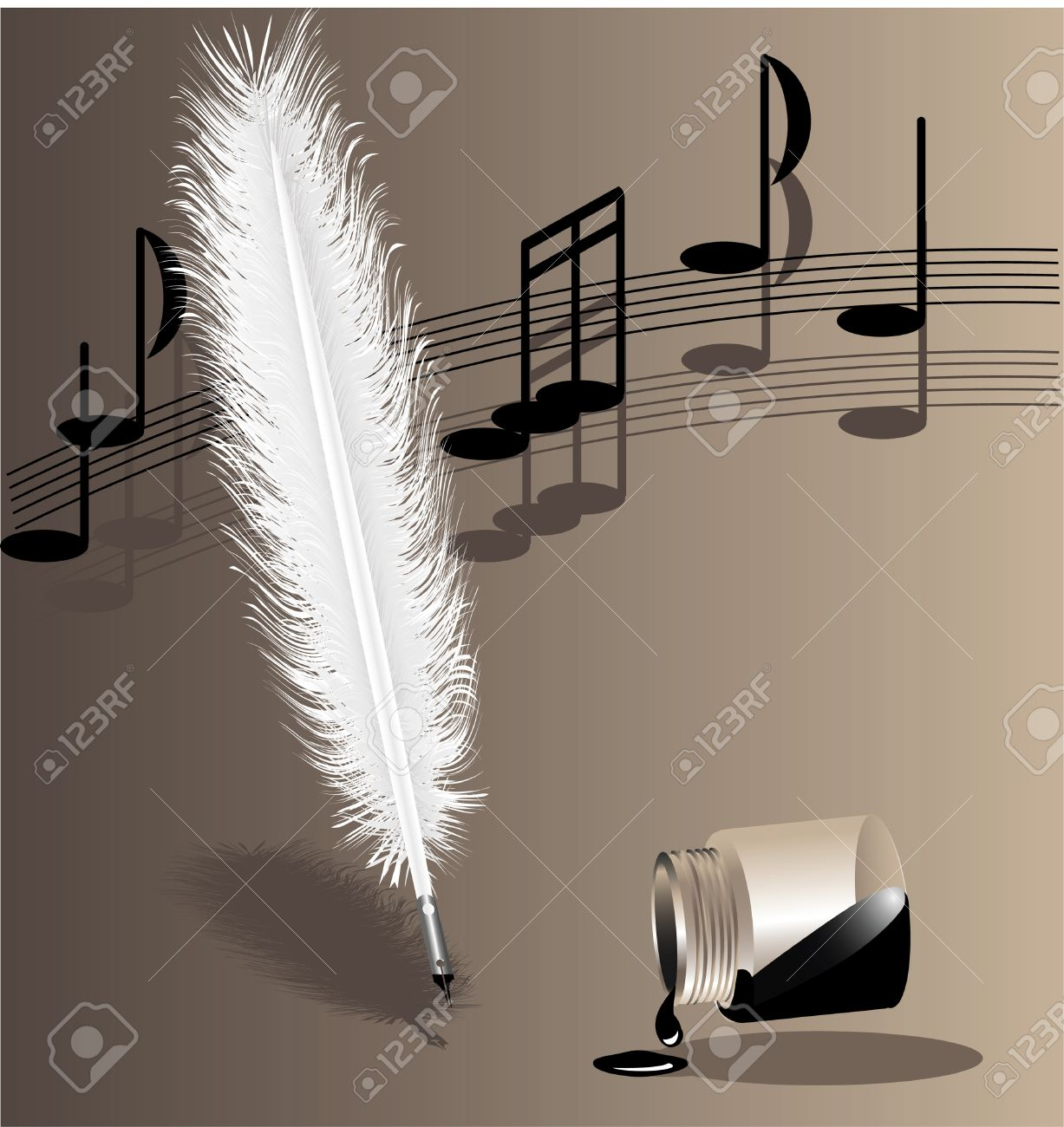 on a beige background music writing white feather pen and the inverted bottle with ink Stock Vector - 8174337
