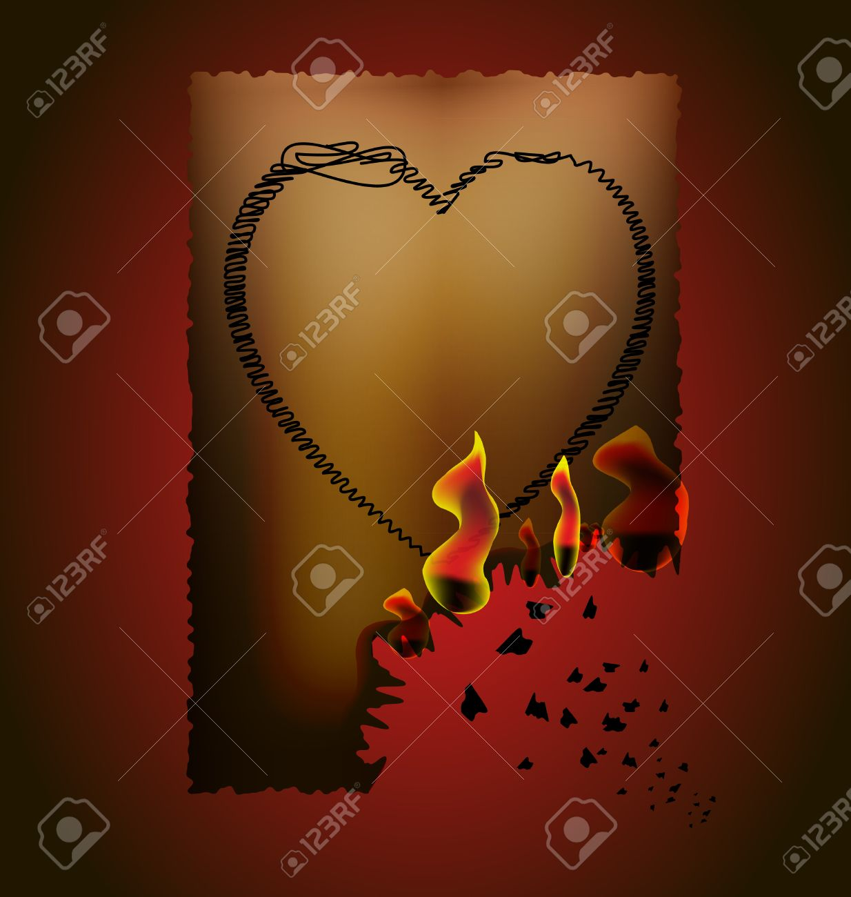 on a dark-red background, the brownish paper with burnt edge, on paper painted heart Stock Vector - 8671894