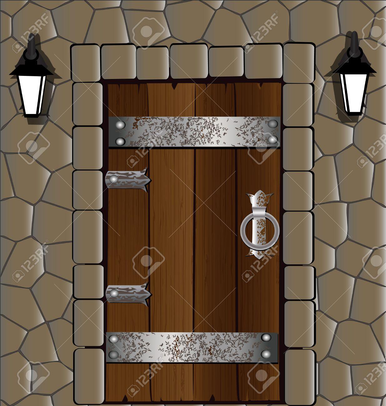 Old wooden door clipart - Old Wooden Door In The Stone Wall Old Wooden Door Alongside Two Lantern Illustration
