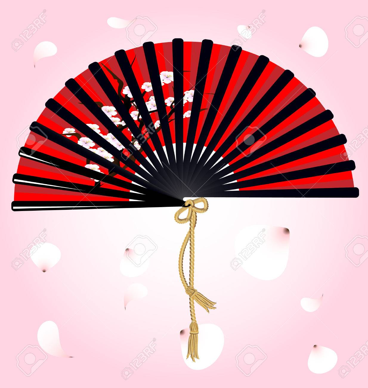 against flying petals large red-black fan with a picture of the cherry blossoms Stock Vector - 8757716